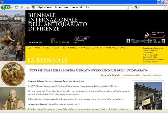Realizzazione siti web a Firenze: sito Biennale dell' antiquariato