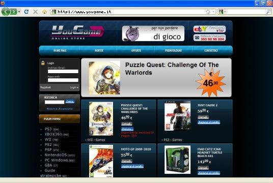 Realizzazione siti web a Firenze: sito yougame